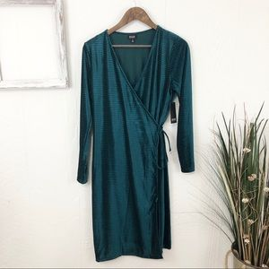 a.n.a NWT Emerald Green Velvet Wrap Dress